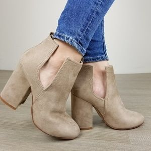 Shoes - Vegan Suede Tan Cute Ankle Boots W/ Open Sides-S